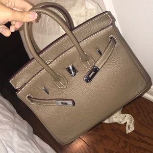 Handbags - Etoupe dark beige caty silver purse satchel bag
